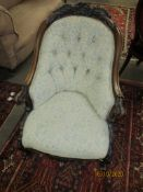 Victorian rosewood ladies chair, upholstered in a Paisley type pattern