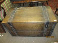 Oak metal bound storage/security chest, 107cm wide