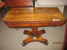 Early 19th century rosewood fold-top card table, quadruped base, 91cm wide