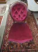 Victorian red button back upholstered dining chair