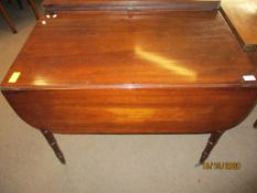 Regency period mahogany Pembroke table, two drop flaps fitted each end with drawer and dummy