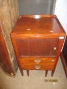18th century mahogany night cupboard with tambour front over dummy drawer pot stand, 49cm wide