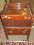 Georgian mahogany tray top night cupboard with tambour front over pot drawer, 57cm wide