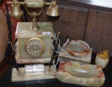 Late 20th century green onyx desk set comprising candlestick, telephone, ashtray, cigarette box,