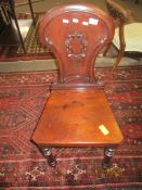 Victorian mahogany hall chair, arch back, solid seat and ring turned front supports