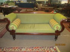 Victorian scroll arm sofa upholstered in green, 183cm wide