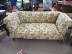 Late 19th/early 20th century Chesterfield style drop end sofa, re-upholstered with multi-coloured