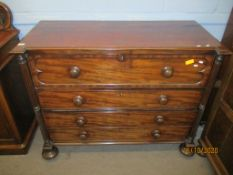 19th century mahogany secretaire chest, the top drawer with fall front enclosing fitted interior