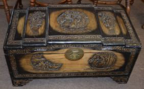 Late 20th century camphor wood carved chest 90cm wide
