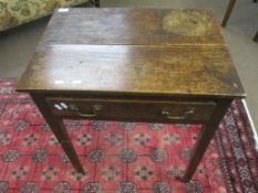 Late 18th/early 19th century oak side table with single frieze drawer on chamfered square