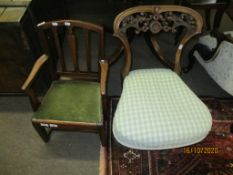 Georgian style mahogany child~s chair with green upholstered drop in seat and a further small