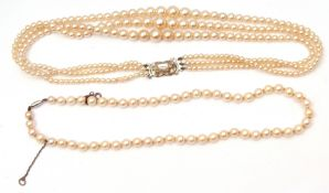 Mixed Lot: cased simulated Lotus pearls, triple row, together with a Ciro single row simulated pearl