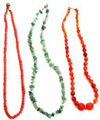 Mixed Lot: jadeite stone fragment necklace, a carnelian faceted graduated bead necklace together