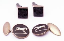 "Mixed Lot: pair of vintage sterling and Wedgwood ""Stubbs Horse"" cuff links, together with a pair"