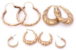 Mixed Lot: three pairs of yellow metal hoop earrings (a/f), 9.3gms, together with a small pair of