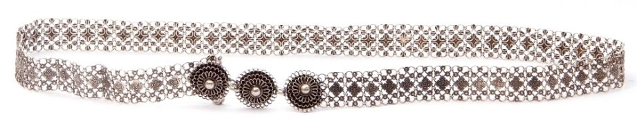 Chinese style white metal belt of various small chained circular links with floral chased panels,