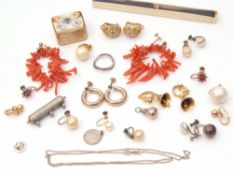 Leather box and contents to include stag coral earrings, costume earrings etc