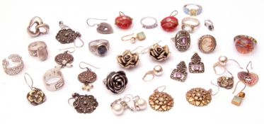 Mixed Lot: mainly white metal jewellery to include rings, earrings etc together with glass rings and
