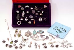 Mixed Lot: two trays of mainly white metal jewellery to include rings, pendants, earrings etc