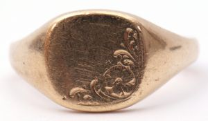 9ct gold gent's signet ring, the shaped square panel part chased engraved with a floral design, size
