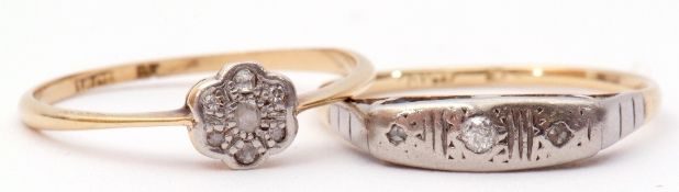 Mixed Lot: two antique small diamond set rings, both stamped 18ct, gross weight 3gms