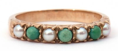 Antique turquoise and seed pearl ring, alternate set with four small seed pearls and three