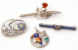 Mixed Lot: silver spray brooch decorated with a blue/white Wedgwood panel, a sterling and enamel