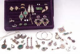 Two trays of mainly white metal jewellery to include various rings, earrings etc