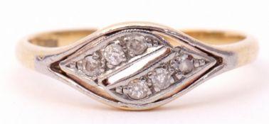 Precious metal diamond set double cross-over ring featuring six small single cut diamonds, stamped