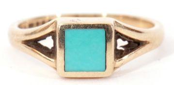 9ct gold and turquoise ring, the square turquoise panel in rub-over setting between angular