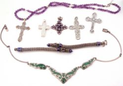 Mixed Lot: 925 stamped and enamel dragon head bracelet, a sterling cross on a purple bead