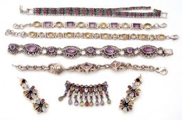 Mixed Lot: five white metal and coloured stone set bracelets (one a/f), a pair of white metal flower