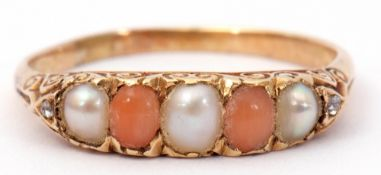 Vintage yellow metal seed pearl, coral and diamond ring, alternate set with three seed pearls and