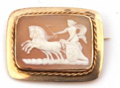 Antique shell cameo of rectangular form, depicting Aurora driving a chariot, in a yellow metal