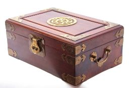Chinese wood and brass mounted jewellery box, (void), 30 x 19 x 12cm high