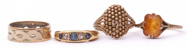 Mixed Lot: antique diamond and sapphire ring, boat shaped and alternate set with three circular