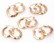 Mixed Lot: five pairs of yellow metal hoop earrings, wire fittings, all unmarked, 4gms