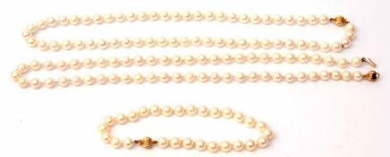 Mixed Lot: two cultured pearl necklaces, a single row of uniform beads, 6mm diam, together with a