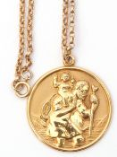 9ct gold large circular St Christopher of 28mm diam, Birmingham 1977, suspended from a Belcher style