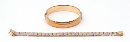 Mixed Lot: rolled gold hinged bracelet, part engraved, together with a 925 stamped tri-colour