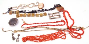 Mixed Lot: antique seed pearl necklet, quantity of stag coral, paste buckle, cameo, fossil brooch,
