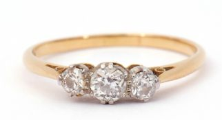Three-stone diamond ring featuring three graduated old cut diamonds, 0.40ct approx, stamped 18ct and