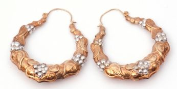 Pair of large hoop creole style earrings, bi-colour and marked 375, with wire fittings, 4.4gms