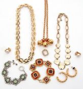 Box of costume jewellery to include translucent enamel bracelet, three plated necklaces, hoop