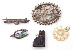 Mixed Lot: silver and enamel bird brooch, Birmingham 1922, an antique white metal oval pierced