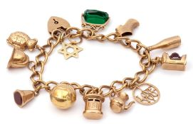 9ct gold curb link bracelet suspending various 9ct gold charms to include a football, a fireman's