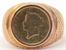 9ct stamped one dollar coin ring dated 1853, the coin in rub-over setting between hatched engraved