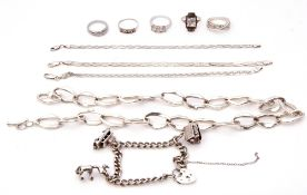 Mixed Lot: 925 stamped oval link necklace, a silver curb link bracelet, three white metal snake link