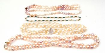 Mixed Lot: three various freshwater pearl type necklaces together with a 925 seed pearl and green