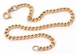 9Kt stamped bracelet of flattened curb link design, 20cm long, 5.2gms